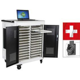 Laptop-Wagen Safecart 24 für schweizer Typ-J-Stecker