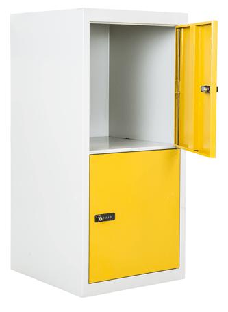 schlie fachschrank 2 gro e schlie f cher gelb zahlenschl sser kleiner schrank mit gro en. Black Bedroom Furniture Sets. Home Design Ideas