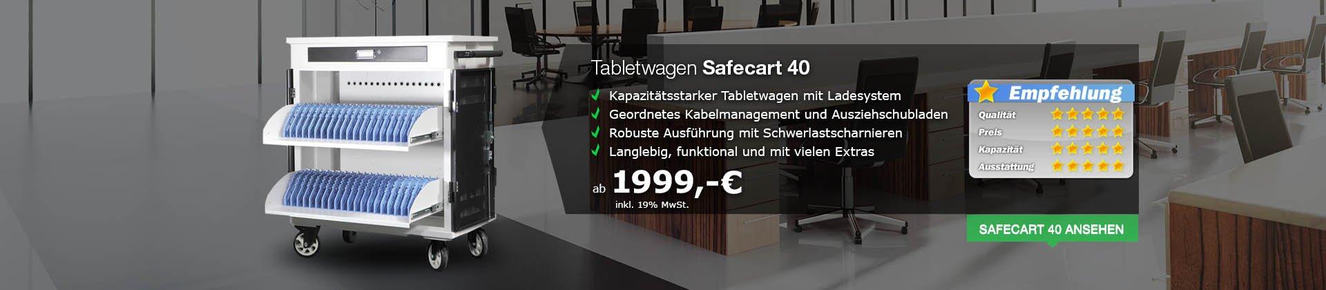 Tabletwagen Safecart 40 - Schnelles Aufladen von bis zu 40 Tablets